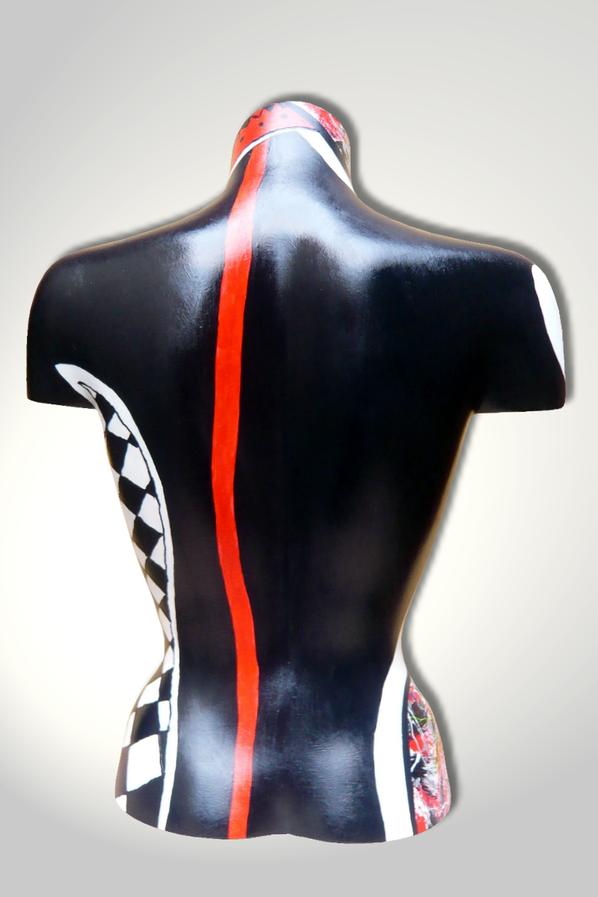 Torso 12 / 12, Skulptur, schwarz, rot, weiss, abstrakt, Art, Kunst, Malerei, Original, Unikat, Kunststoff, Acryl, Rücken