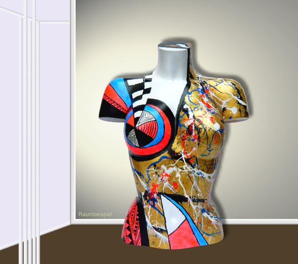 Torso 13 / 26, Skulptur, bunt, abstrakt, Art, Kunst, Malerei, Original, Unikat, Kunststoff, Acryl, Raumbeispiel