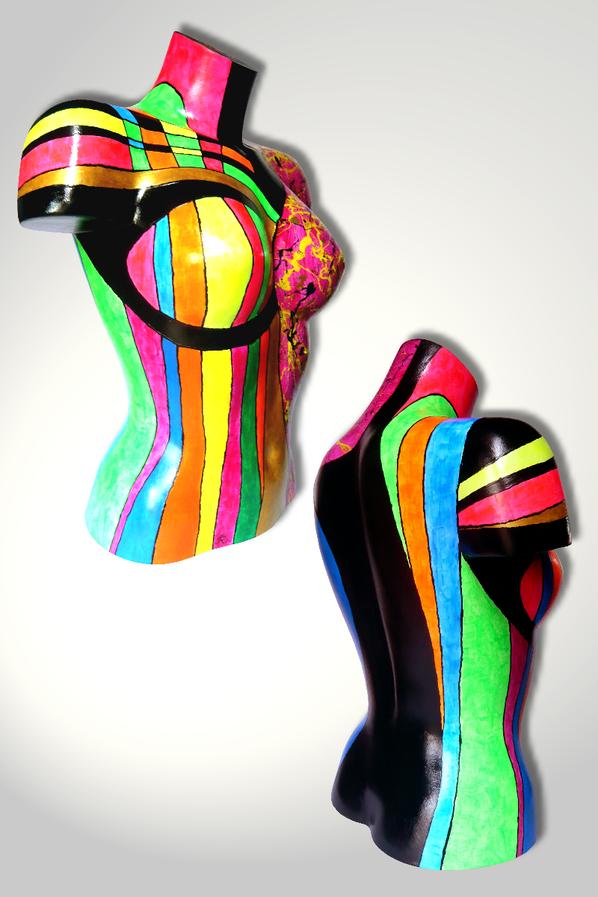 Torso 13 / 47, Skulptur, bunt, abstrakt, Art, Kunst, Malerei, Original, Unikat, Kunststoff, Acryl, Seite