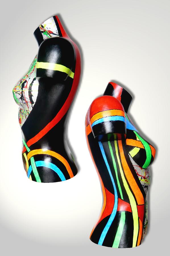 Torso 13 / 37, Skulptur, bunt, abstrakt, Art, Kunst, Malerei, Original, Unikat, Kunststoff, Acryl, Seite