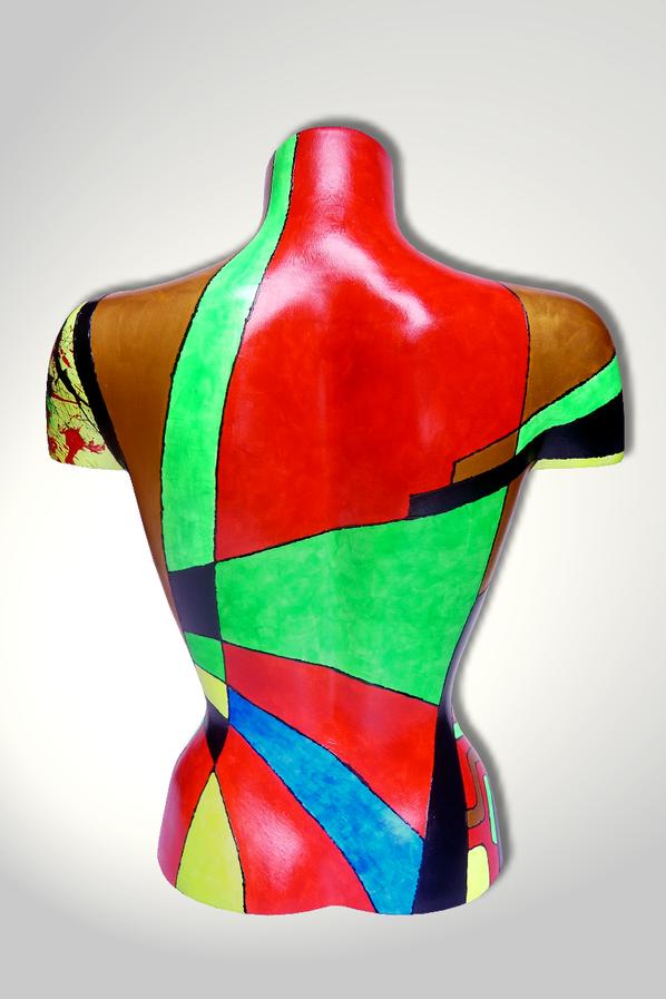 Torso 13 / 32, Skulptur, bunt, abstrakt, Art, Kunst, Malerei, Original, Unikat, Kunststoff, Acryl, Rücken
