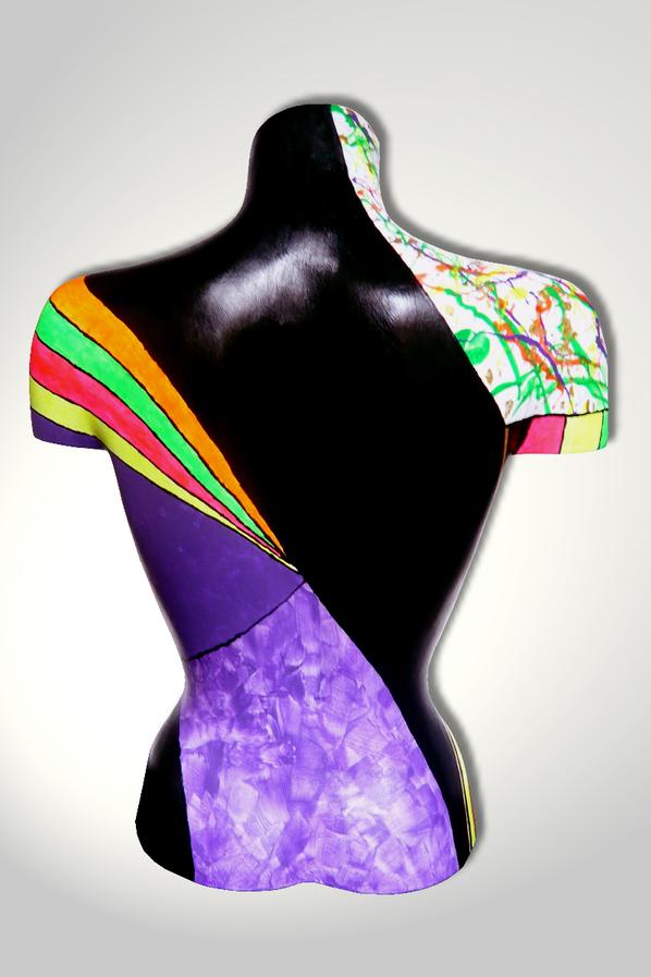 Torso 13 / 46, Skulptur, bunt, abstrakt, Art, Kunst, Malerei, Original, Unikat, Kunststoff, Acryl, Rücken
