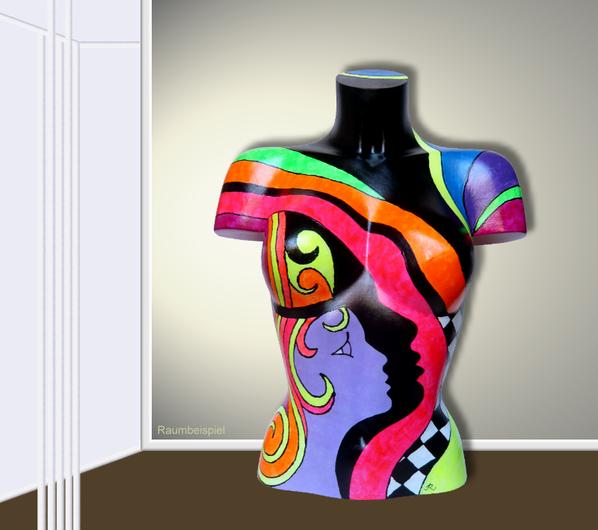 Torso 13 / 43, Skulptur, bunt, abstrakt, Art, Kunst, Malerei, Original, Unikat, Kunststoff, Acryl, Raumbeispiel