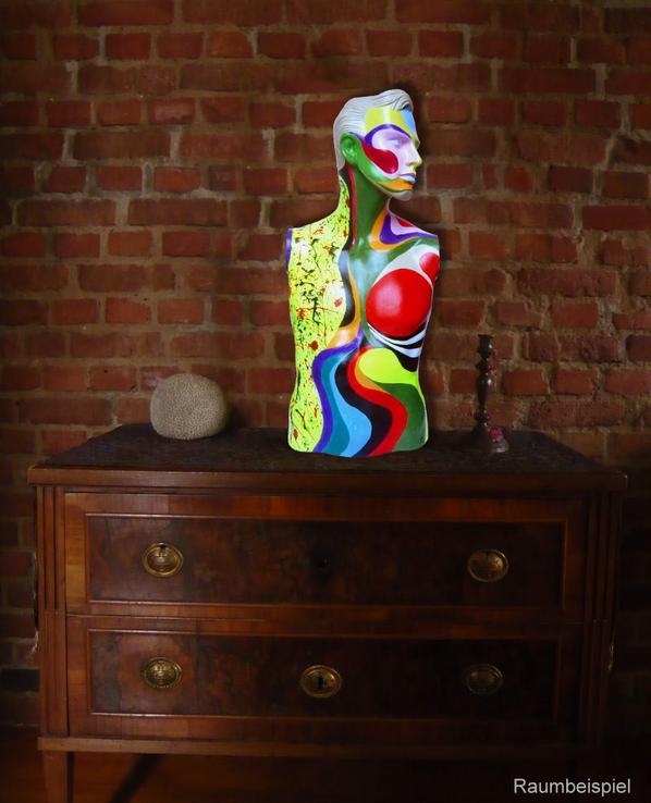 Torso 13 / 53, Skulptur, bunt, abstrakt, Art, Kunst, Malerei, Original, Unikat, Kunststoff, Acryl, Mann, mänlich, Raumbeispiel