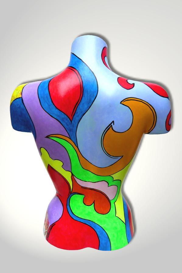 Torso 12 / 4, Collage, Skulptur, bunt, abstrakt, Art, Kunst, Malerei, Original, Unikat, Kunststoff, Acryl, Rücken