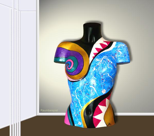 Torso 13 / 54, Skulptur, bunt, abstrakt, Art, Kunst, Malerei, Original, Unikat, Kunststoff, Acryl, Raumbeispiel
