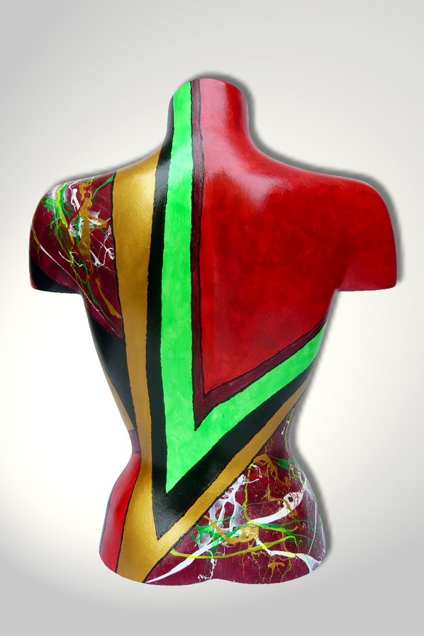 Torso 13 / 29, Skulptur, bunt, abstrakt, Art, Kunst, Malerei, Original, Unikat, Kunststoff, Acryl, Rücken