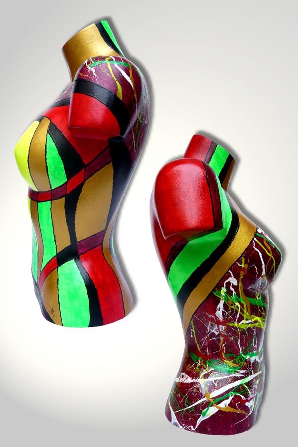 Torso 13 / 29, Skulptur, bunt, abstrakt, Art, Kunst, Malerei, Original, Unikat, Kunststoff, Acryl, Seite