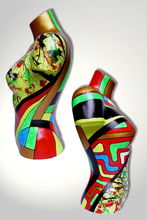 Torso 13 / 32, Skulptur, bunt, abstrakt, Art, Kunst, Malerei, Original, Unikat, Kunststoff, Acryl, Seite