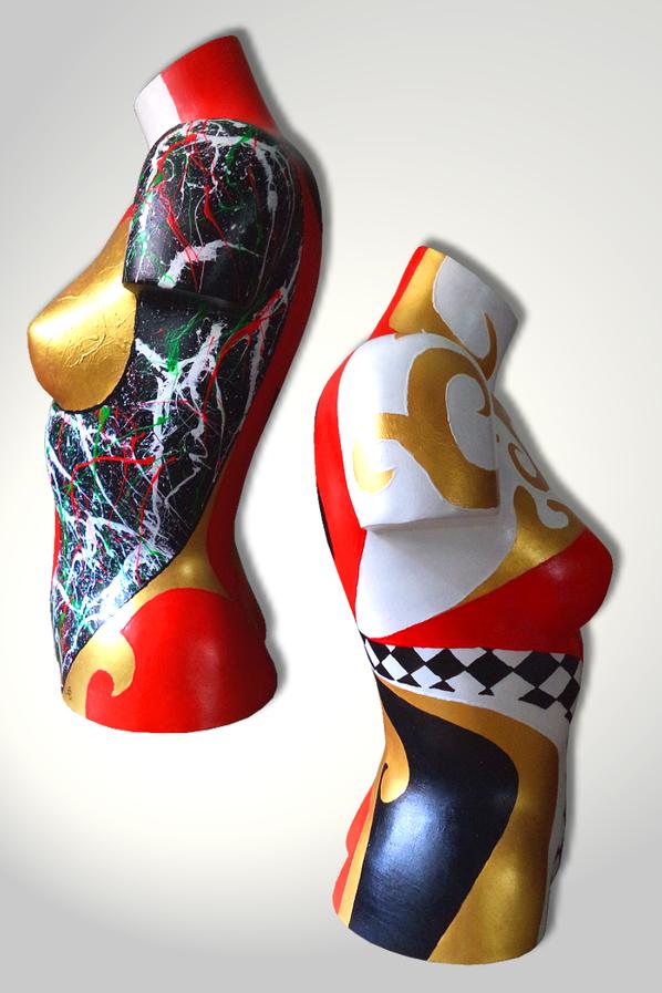 Torso 13 / 58, Skulptur, bunt, abstrakt, Art, Kunst, Malerei, Original, Unikat, Kunststoff, Acryl, Seite