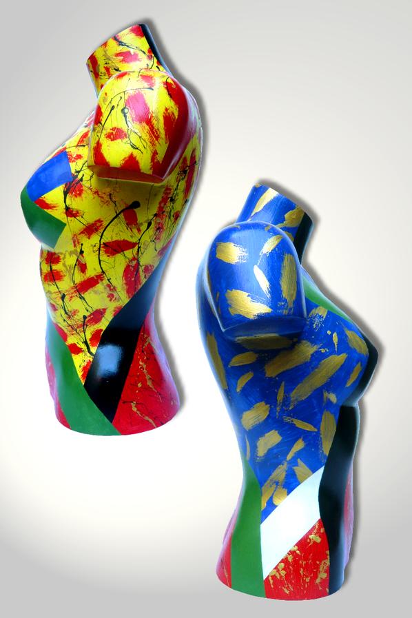 Torso 12 / 14, Skulptur, bunt, abstrakt, Art, Kunst, Malerei, Original, Unikat, Kunststoff, Acryl, Seiten