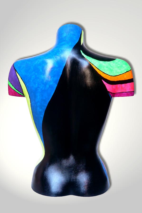 Torso 13 / 43, Skulptur, bunt, abstrakt, Art, Kunst, Malerei, Original, Unikat, Kunststoff, Acryl, Rücken