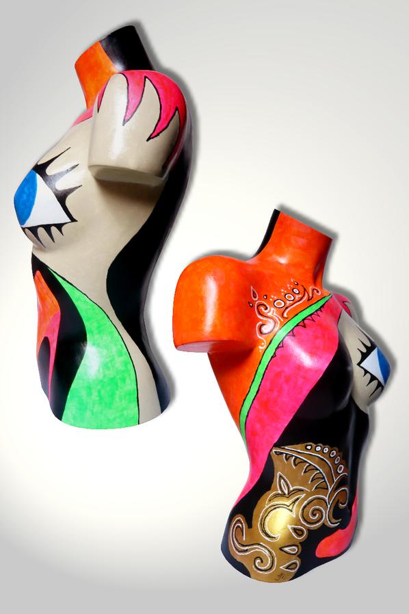 Torso 13 / 44, Skulptur, bunt, abstrakt, Art, Kunst, Malerei, Original, Unikat, Kunststoff, Acryl, Seite
