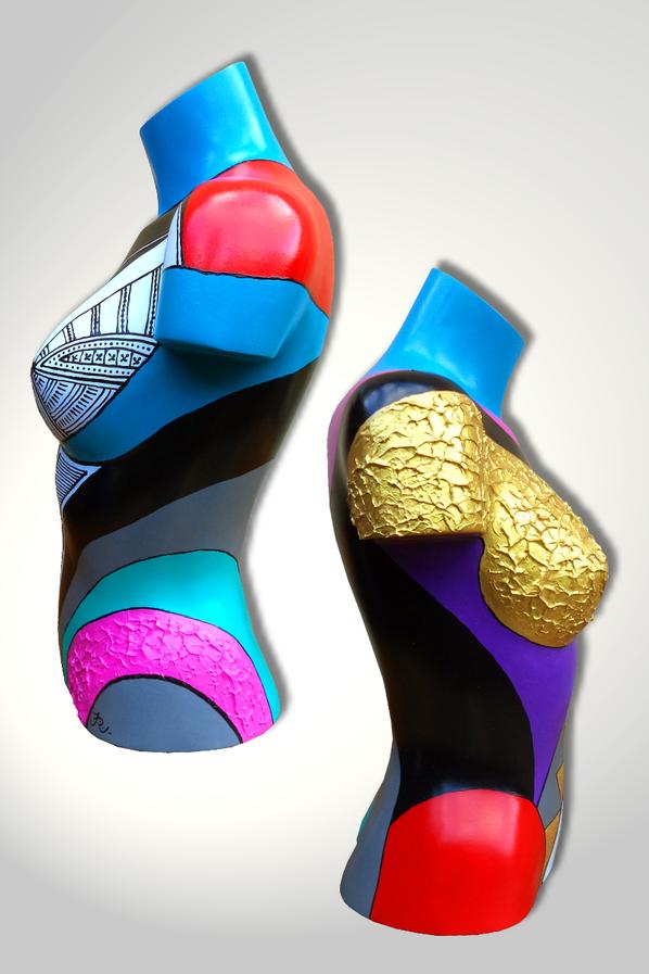 Torso 17 / 130, Skulptur, bunt, abstrakt, Art, Kunst, Malerei, Original, Unikat, Kunststoff, Acryl, Gold