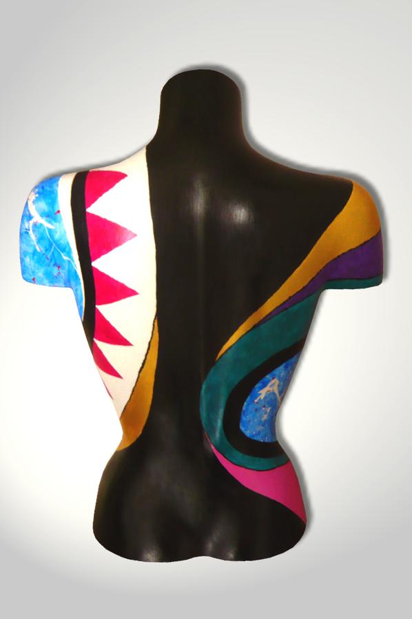Torso 13 / 54, Skulptur, bunt, abstrakt, Art, Kunst, Malerei, Original, Unikat, Kunststoff, Acryl, Rücken