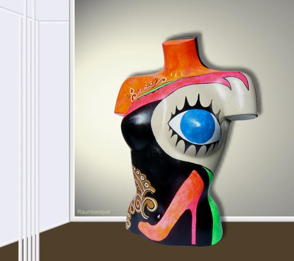 Torso 13 / 44, Skulptur, bunt, abstrakt, Art, Kunst, Malerei, Original, Unikat, Kunststoff, Acryl, Raumbeispiel