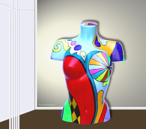 Torso 12 / 6, Skulptur, bunt, abstrakt, Art, Kunst, Malerei, Original, Unikat, Kunststoff, Acryl, Raumbeispiel