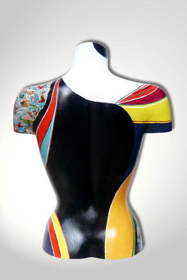 Torso 13 / 41, Skulptur, Collage, bunt, abstrakt, Art, Kunst, Malerei, Original, Unikat, Kunststoff, Acryl, Rücken