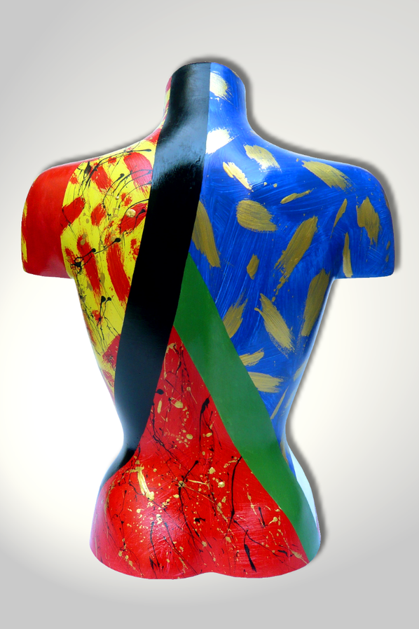Torso 12 / 14, Skulptur, bunt, abstrakt, Art, Kunst, Malerei, Original, Unikat, Kunststoff, Acryl, Rücken