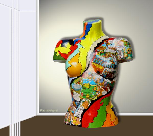 Torso 13 / 42, Skulptur, Collage, bunt, abstrakt, Art, Kunst, Malerei, Original, Unikat, Kunststoff, Acryl, Raumbeispiel