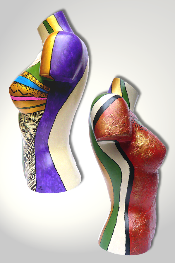 Torso 12 / 18, Skulptur, bunt, abstrakt, Art, Kunst, Malerei, Original, Unikat, Kunststoff, Acryl, Seite