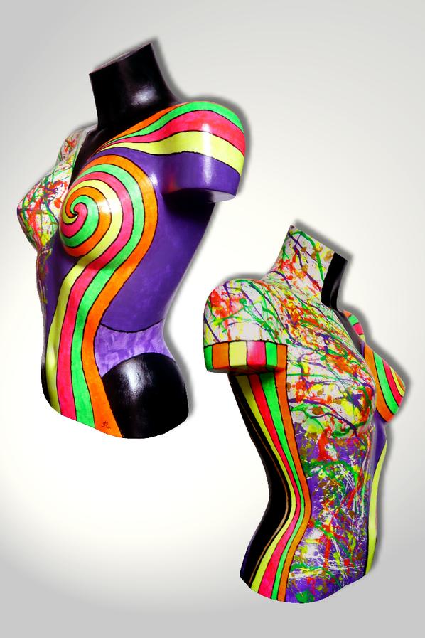 Torso 13 / 46, Skulptur, bunt, abstrakt, Art, Kunst, Malerei, Original, Unikat, Kunststoff, Acryl, Seite