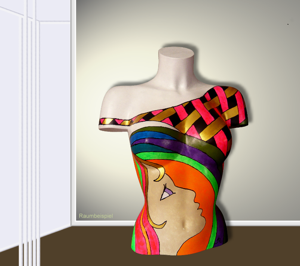 Torso 13 / 55, Skulptur, bunt, abstrakt, Art, Kunst, Malerei, Original, Unikat, Kunststoff, Acryl, Raumbeispiel, Gesicht