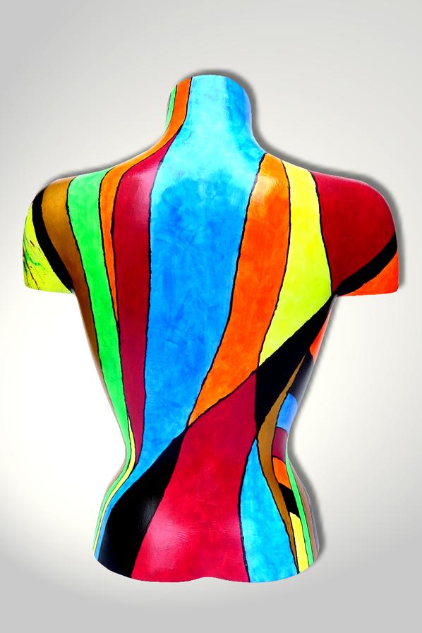 Torso 13 / 25, Skulptur, bunt, abstrakt, Art, Kunst, Malerei, Original, Unikat, Kunststoff, Acryl, Rücken