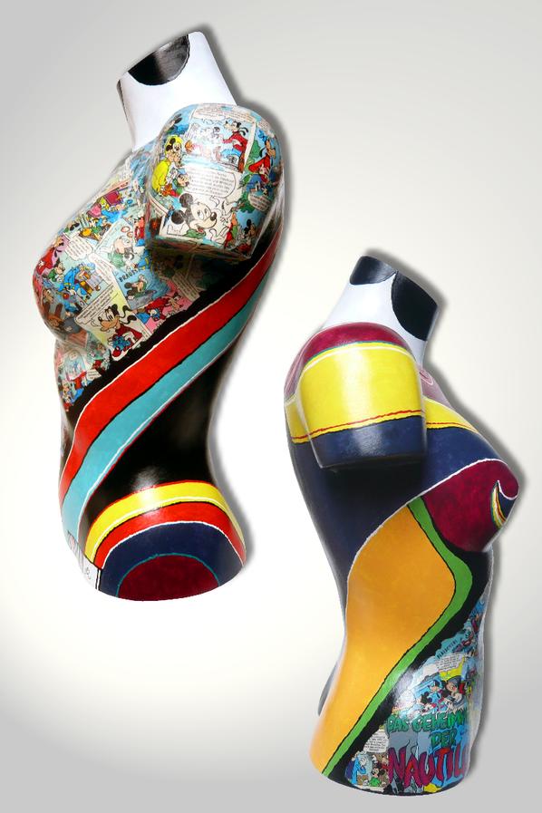 Torso 13 / 41, Skulptur, Collage, bunt, abstrakt, Art, Kunst, Malerei, Original, Unikat, Kunststoff, Acryl, Seite
