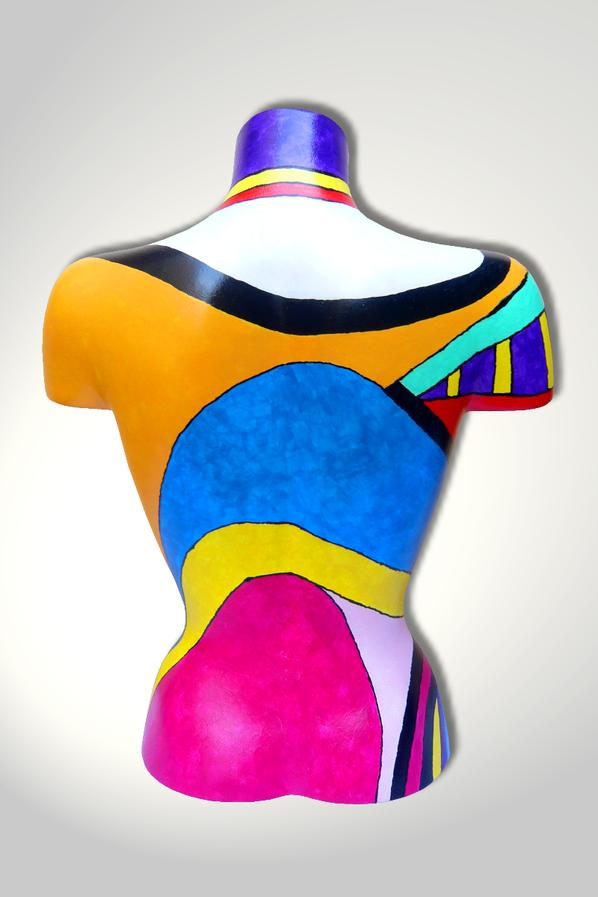 Torso 13 / 52, Skulptur, bunt, abstrakt, Art, Kunst, Malerei, Original, Unikat, Kunststoff, Acryl, Rücken