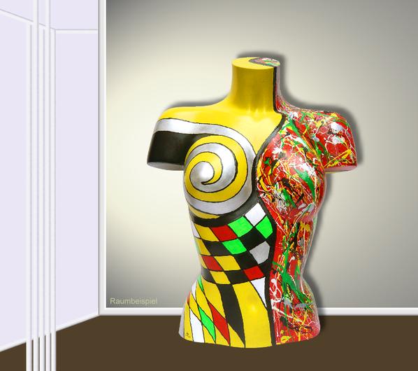 Torso 12 / 21, Skulptur, bunt, abstrakt, Art, Kunst, Malerei, Original, Unikat, Kunststoff, Acryl, Raumbeispiel