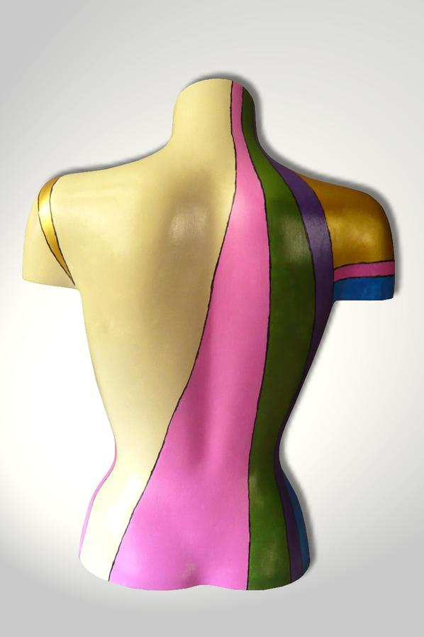 Torso 13 / 60, Skulptur, bunt, abstrakt, Art, Kunst, Malerei, Original, Unikat, Kunststoff, Acryl, Rücken
