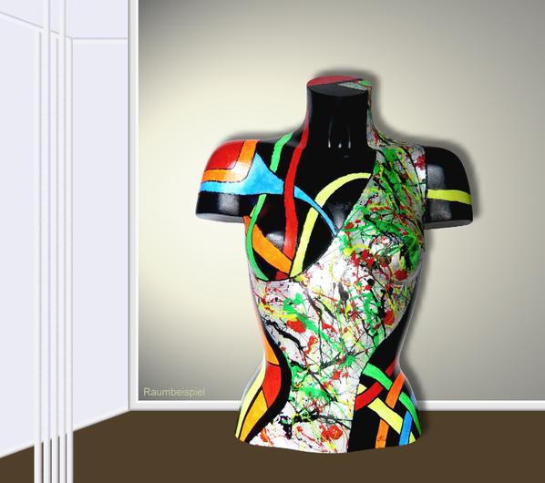 Torso 13 / 37, Skulptur, bunt, abstrakt, Art, Kunst, Malerei, Original, Unikat, Kunststoff, Acryl, Raumbeispiel