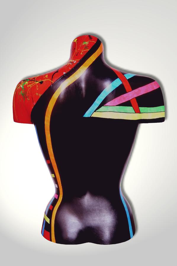 Torso 13 / 39, Skulptur, bunt, abstrakt, Art, Kunst, Malerei, Original, Unikat, Kunststoff, Acryl, Rücken