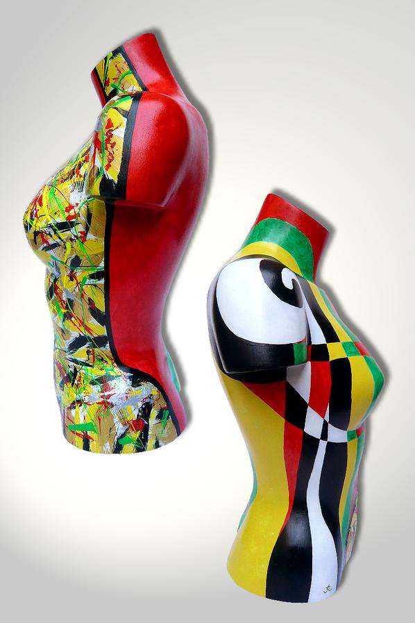 Torso 12 / 16, Skulptur, bunt, abstrakt, Art, Kunst, Malerei, Original, Unikat, Kunststoff, Acryl, Seite