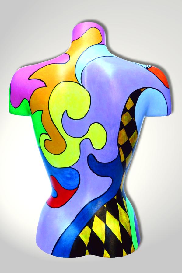 Torso 12 / 6, Skulptur, bunt, abstrakt, Art, Kunst, Malerei, Original, Unikat, Kunststoff, Acryl, Rücken