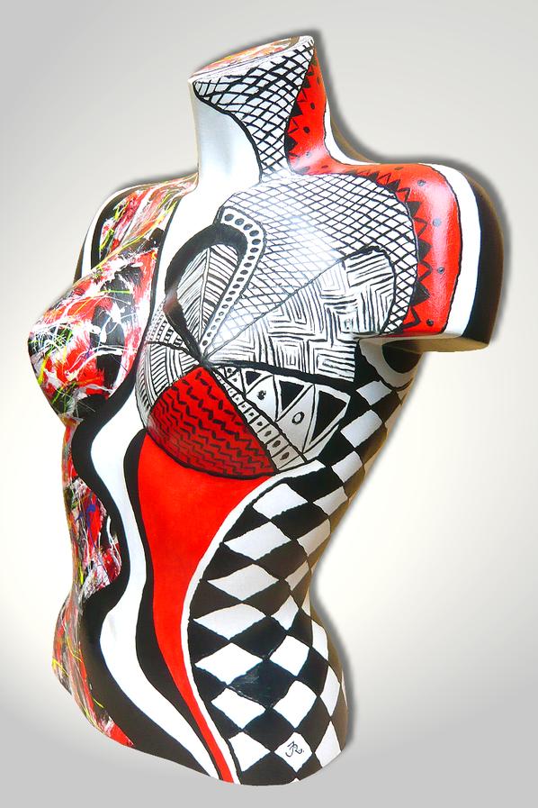 Torso 12 / 12, Skulptur, schwarz, rot, weiss, abstrakt, Art, Kunst, Malerei, Original, Unikat, Kunststoff, Acryl, Seite
