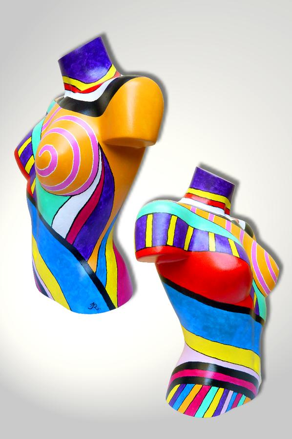 Torso 13 / 52, Skulptur, bunt, abstrakt, Art, Kunst, Malerei, Original, Unikat, Kunststoff, Acryl, Seite