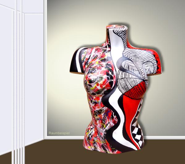 Torso 12 / 12, Skulptur, schwarz, rot, weiss, abstrakt, Art, Kunst, Malerei, Original, Unikat, Kunststoff, Acryl, Raumbeispiel