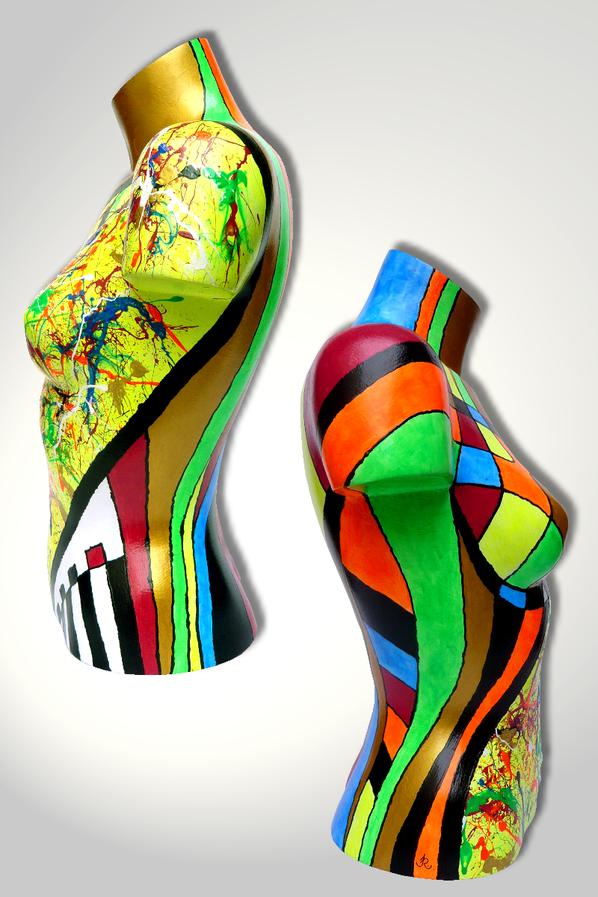 Torso 13 / 25, Skulptur, bunt, abstrakt, Art, Kunst, Malerei, Original, Unikat, Kunststoff, Acryl, Seite