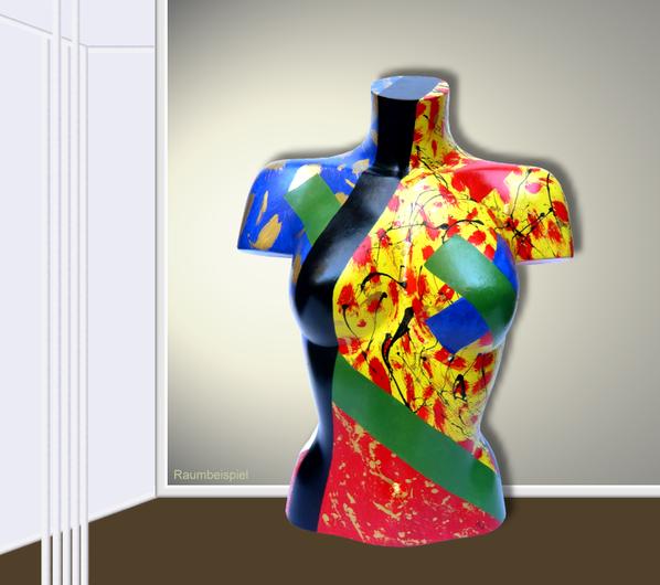 Torso 12 / 14, Skulptur, bunt, abstrakt, Art, Kunst, Malerei, Original, Unikat, Kunststoff, Acryl, Raumbeispiel