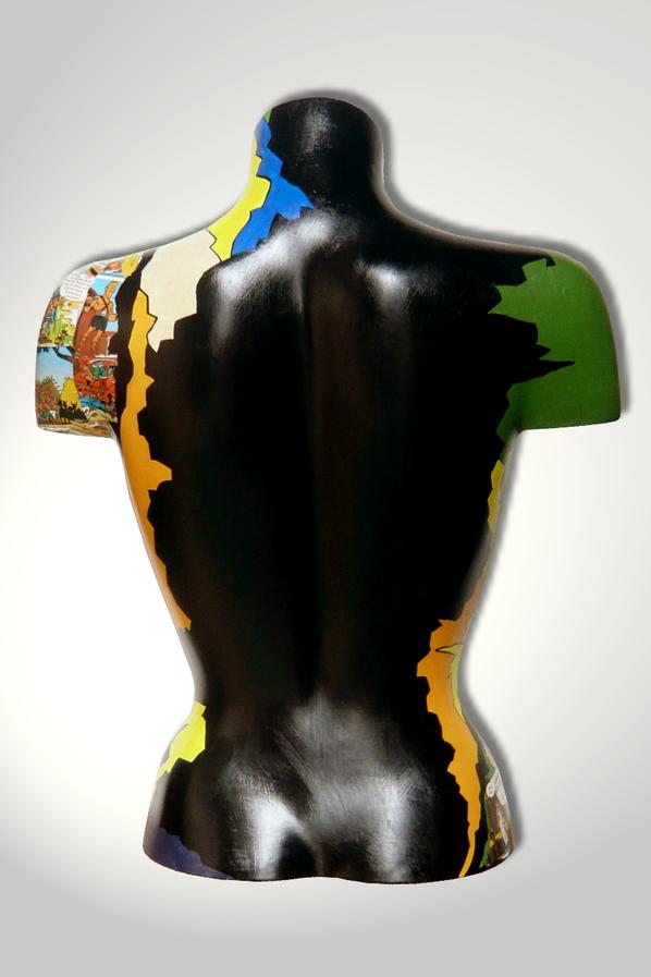 Torso 13 / 42, Skulptur, Collage, bunt, abstrakt, Art, Kunst, Malerei, Original, Unikat, Kunststoff, Acryl, Rücken