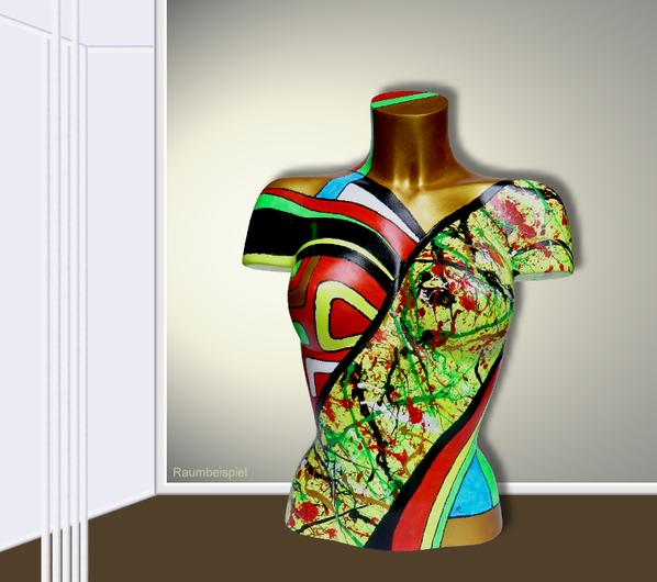 Torso 13 / 32, Skulptur, bunt, abstrakt, Art, Kunst, Malerei, Original, Unikat, Kunststoff, Acryl, Raumbeispiel