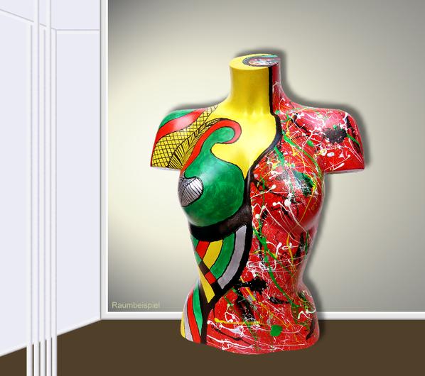 Torso 12 / 17, Skulptur, bunt, abstrakt, Art, Kunst, Malerei, Original, Unikat, Kunststoff, Acryl, Raumbeispiel