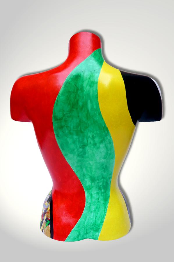 Torso 12 / 16, Skulptur, bunt, abstrakt, Art, Kunst, Malerei, Original, Unikat, Kunststoff, Acryl, Rücken
