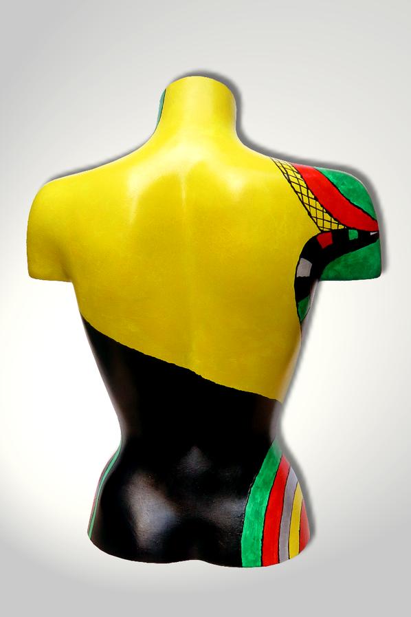 Torso 12 / 17, Skulptur, bunt, abstrakt, Art, Kunst, Malerei, Original, Unikat, Kunststoff, Acryl, Rücken