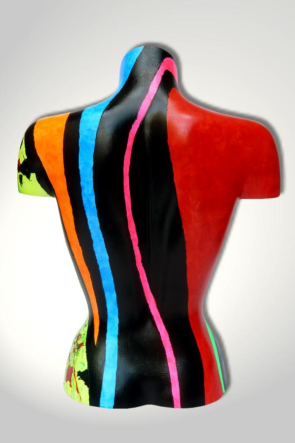 Torso 13 / 24, Skulptur, bunt, abstrakt, Art, Kunst, Malerei, Original, Unikat, Kunststoff, Acryl, Rücken