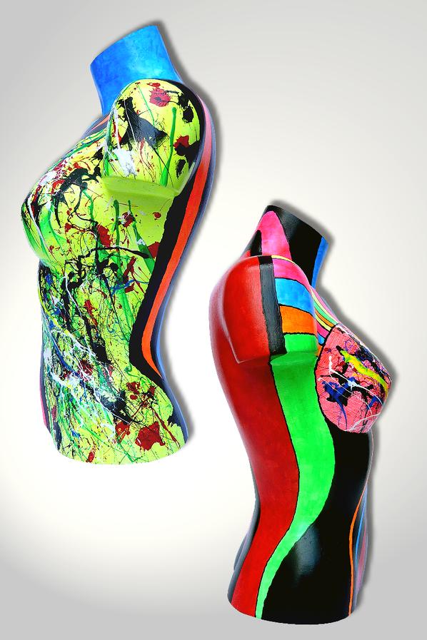 Torso 13 / 24, Skulptur, bunt, abstrakt, Art, Kunst, Malerei, Original, Unikat, Kunststoff, Acryl, Seite