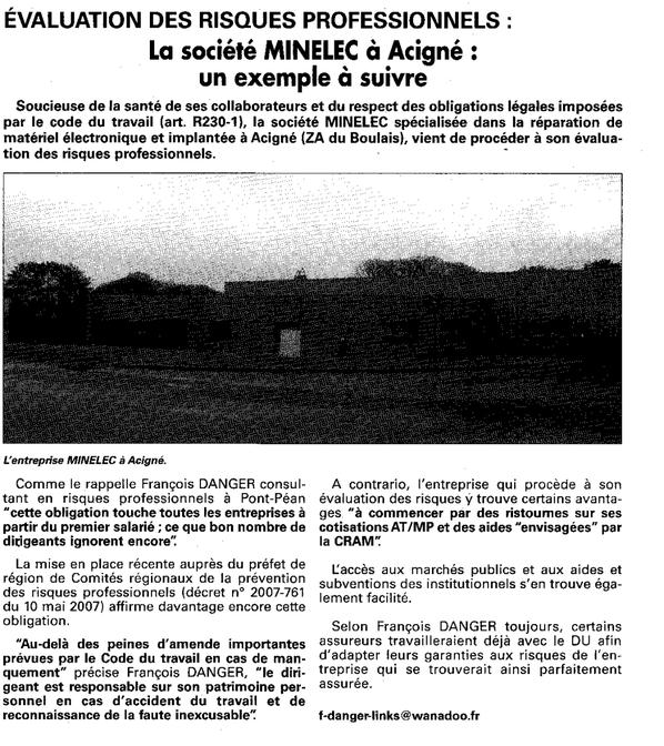 La société MINELEC à Acigné : un exemple à suivre - Petites affiches de Bretagne – 23 juin 2007