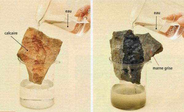 Test de résistance de 2 roches. Sources: Bordas, SVT 5è, 2010 p 145. Cliquez sur la photo.